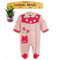 lovely baby girls VELVET baby spring romper with embroidered pocket