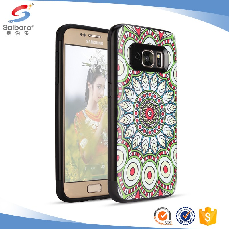 Bulk cheap TPU+PC Flower Printed case for samsung galaxy s8 hybrid case