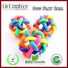 Top sales rainbow color pet dog knot ball dog toy rubber ball tpr weave ball for pet