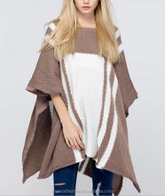 monroo Handmade Wholesale Knit Poncho Women Pure Cashmere Cape Sweater