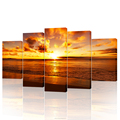 5 Piece Seascape Canvas Art Prints Beach Sunset Sea Wave Wall Pictures for Living Room and Office Decoration