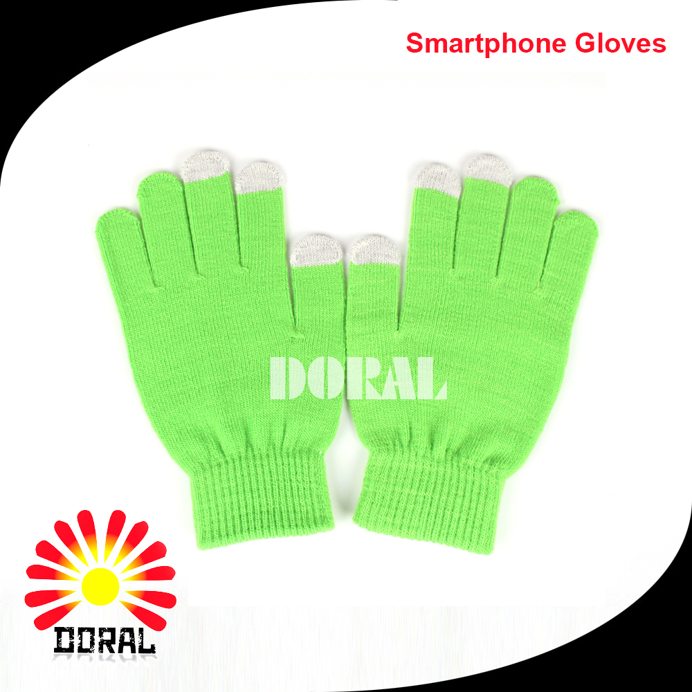 Daily life Touch Screen Winter Hand Warmer Gloves Acrylic Knited Fluorescent Green Magic Glove