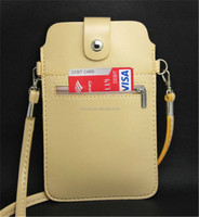 Universal Multifunctional PU Leather Mini Mobile Phone Bag Pouch/Purse with Shoulder Strap and Metal Button for iPhone 6 6+ plus