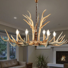 MASO Six Lamp Holders Vintage Resin Material Antlers Chandelier 800*450 Hotel Install MS-P2004-6 E14 Candle Bulb Light