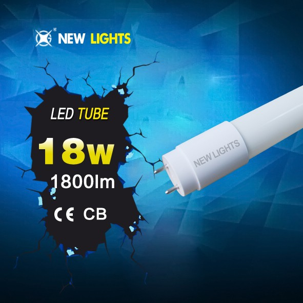 super bright led tube t8 glass tube plastic cap IC driver 18w