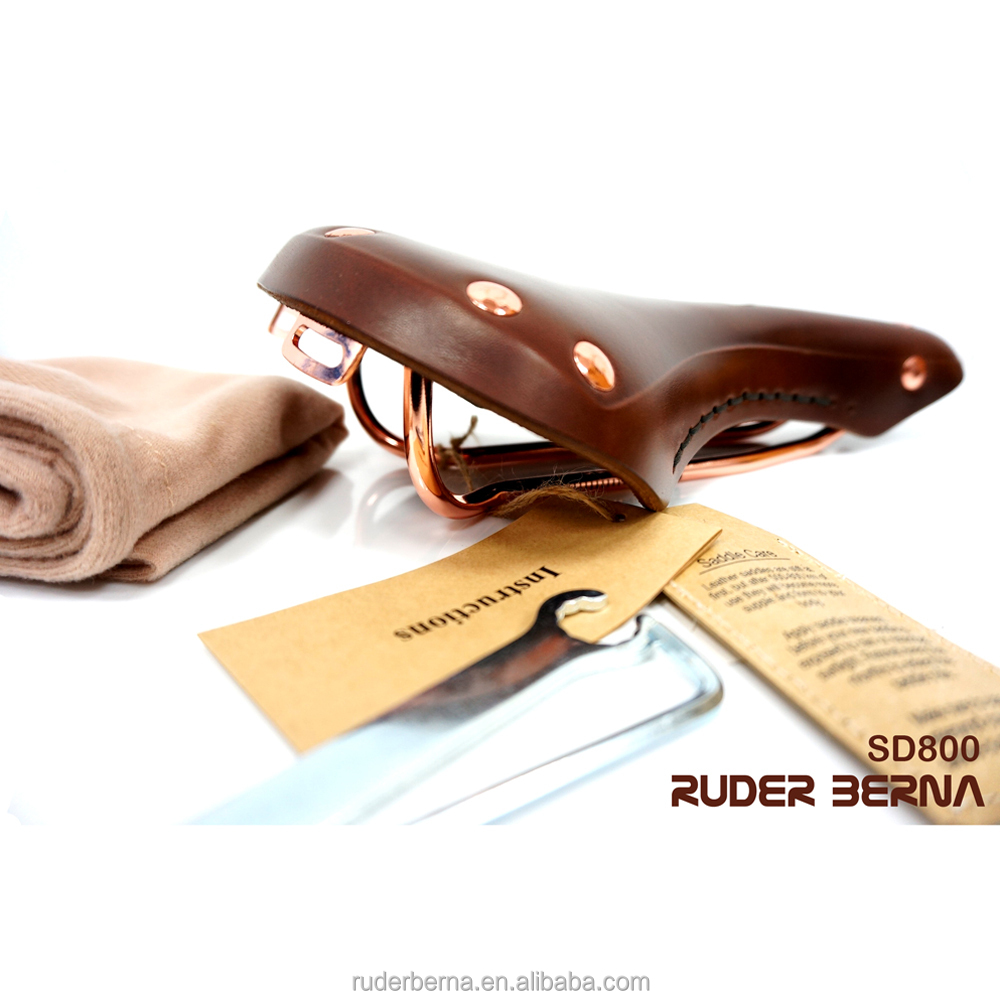 Ruder Berna Taiwan Made Fixed Gear Natural Leather Bicycle Saddle