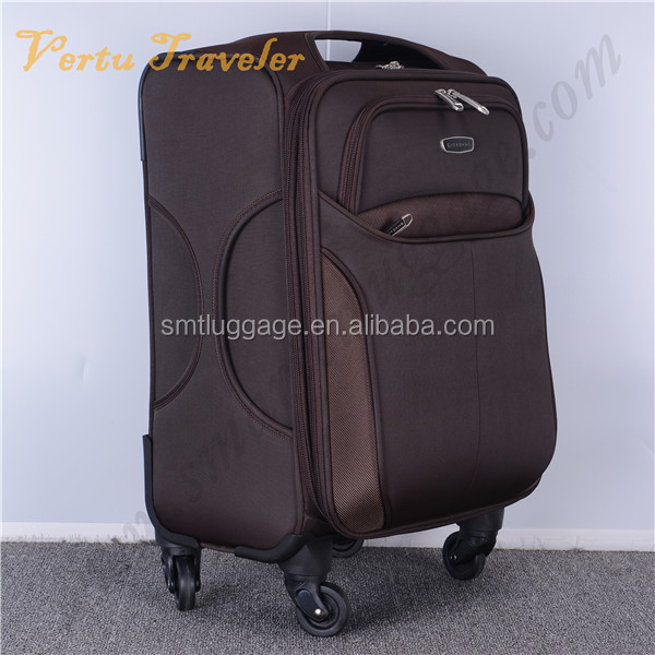 Coffee color fabric 4 spinner wheels luggage, suitcase type luggage