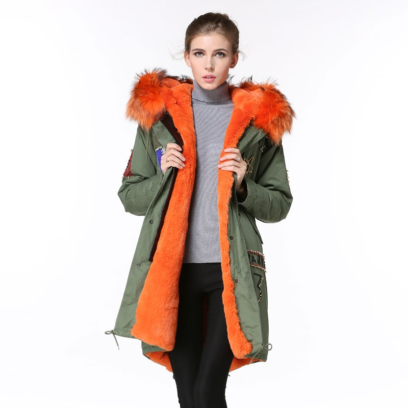 Oem Service Orange Lined Military Green Winter Long Parka,Womens ...