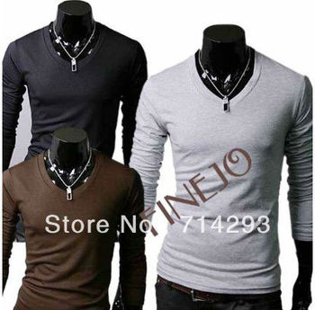 New Casual Stylish V-Neck Long Sleeve Men's Cotton T-Shirt Tops FJ-3466