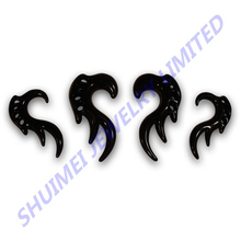 pair of black tribal hanging acrylic ear tapers stretchers tunnel gauge expander piercing body jewelry