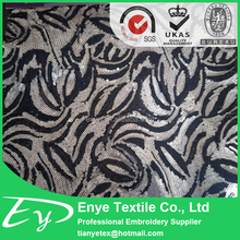 Factory wholesale EY-12991 poly mesh 3mm sequin fabric embroidery design