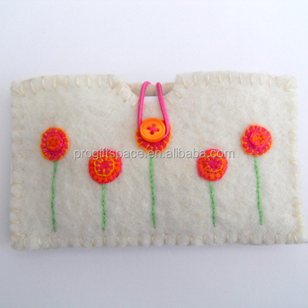 Best selling products custom made cheap fabric gadget case credit card wallet cotton felted phone sleeve cover with cute flowers