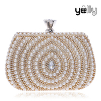 Fashion Lady Clutch Purses With Diamond And Pearl Decoration