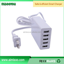MISOOYOU Mobile phone accessory EU/UK/US plug 5 port USB wall travel charger