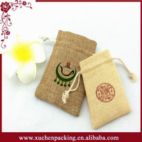 China Suppier Lovely Small Burlap Pouch Bag With Drawstring For Weddings Parties