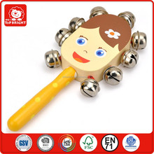6 months baby smile rattle toys manufacturing with 9 small bells smooth hand bell musical instruments
