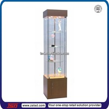 TSD-W994 factory custom made square Rotating wooden Glass display cabinet/floor standing glass cabinet/jewelry display cabinet