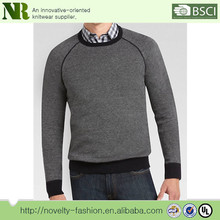 Men's charcoal and navy birdseye crewneck slim fit sweater