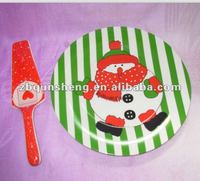 10'' decal green ceramic cake plate with cake slice