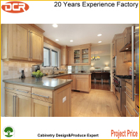 Simple designs walnut solid wood kitchen cabinets use for prefab homes