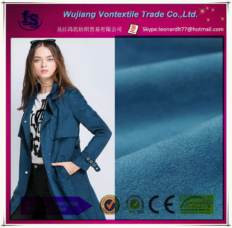 Wujiang manufacture supply high quality woven 100% polyester weft soft micro suede fabric for coat,dress,etc