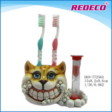 Resin kid toothbrush holder with hourglass timer
