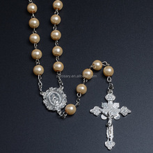Beauty 8mm Pearl Glass Rosaries Christian Gifts The Cross Necklace Religion Catholic Holy Rosary Beads
