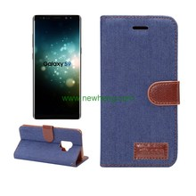Multi function denim pattern leather stand wallet case For Samsung Galaxy S9