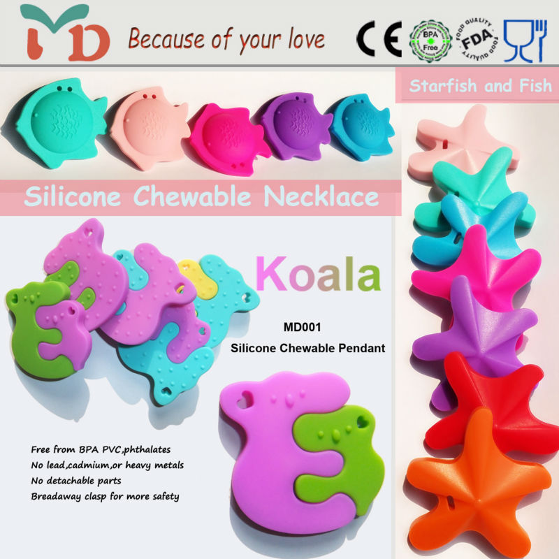 Top sale silicone pendant jewelry&silicone pendant teething wholesale for baby
