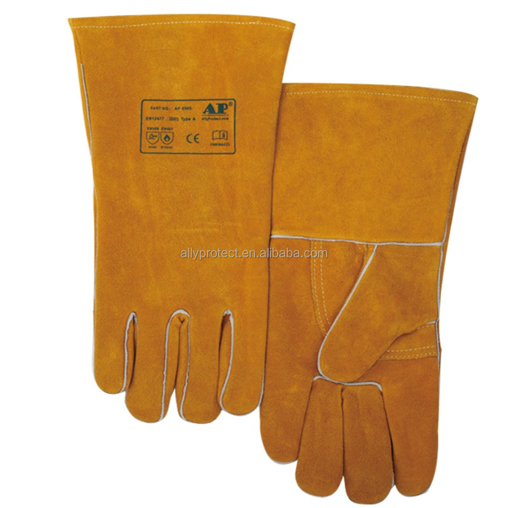 AP-0909 top A grade side split cowhide leather welding <strong>glove</strong> and air cushion lined heavy duty heat resistant <strong>gloves</strong> with CE