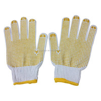 7 Gauge Polycotton Knit gloves with dots on palm