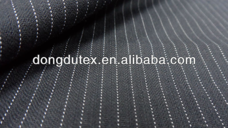 2015 new designs wool touch navy blue and white stripe fabric