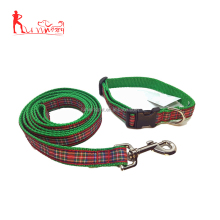 Premium Royal Stewart Plaid Dog Collar and Leash Set Red/blue/green Tartan Ribbon and Nylon Webbing