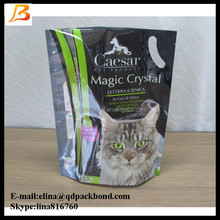 Various high quality plastic stand up pet food cat litter packaging bag with handle