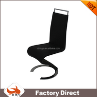 Black PU high quality dining chair with chrome metal base