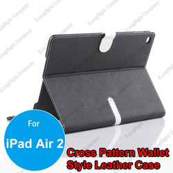 Cross Pattern Faux Leather Flip Case with Credit Card Slots for iPad Air 2,Tablets Stand Leather Card Holder Case
