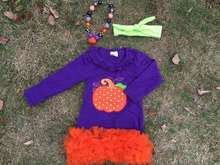 2015 new baby girls Halloween purple pumpkin dress with matching hair bows and necklace set