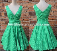 real photo 50's Rockabilly dress green with polka dots Pin Up Retro Prom Party Dress plus size