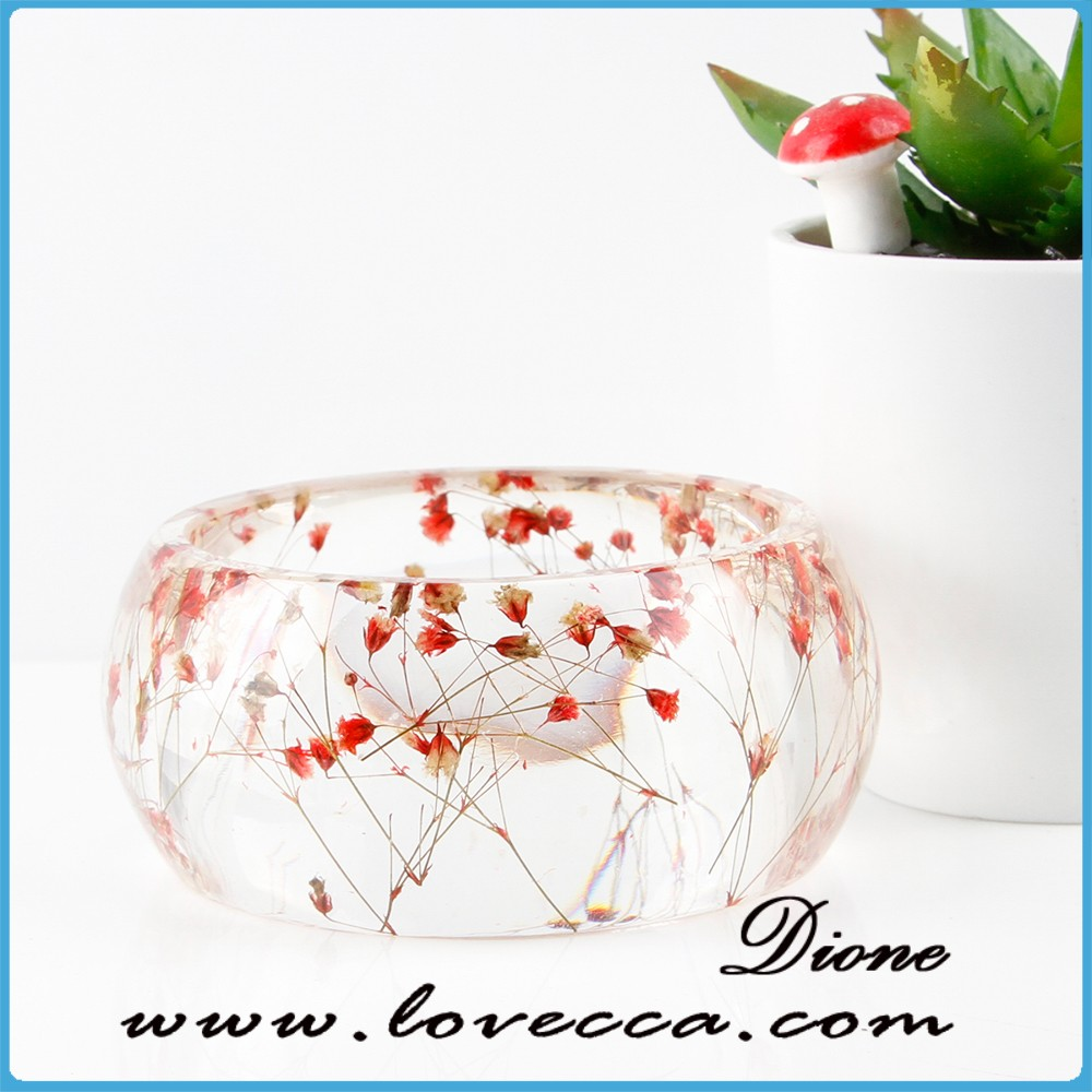 ladies fancy wide plastic bangle, pink flowers clear resin bangle
