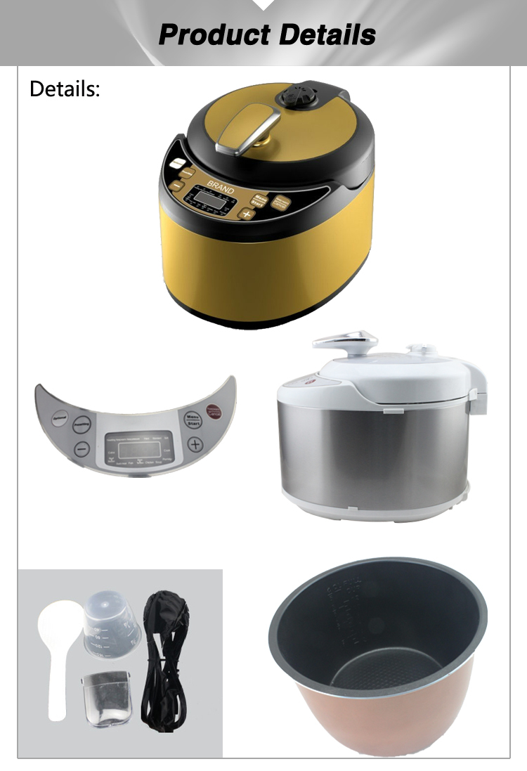 stainless steel housing with color coating LED/LCD available 110v/220v available electric pressure cooker