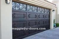 Sectional Wrought iron steel garage door American Standard opened by electric motor