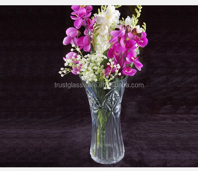 Manufacture Machine Made Euronpean Wholesale Multi patterns Trumpetflower Shaped Glass Vase