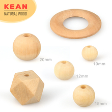 Wholesale Natural Teething Wooden Beads 9mm 12mm 15mm 20mm