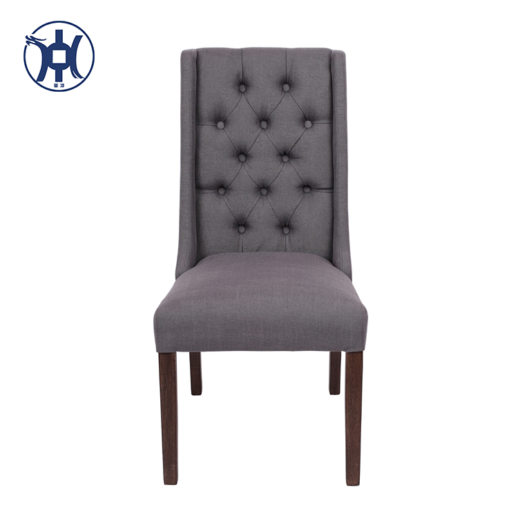 Button Tufted Fabric Upholstered Dining Chair High Back Dining Room Chair