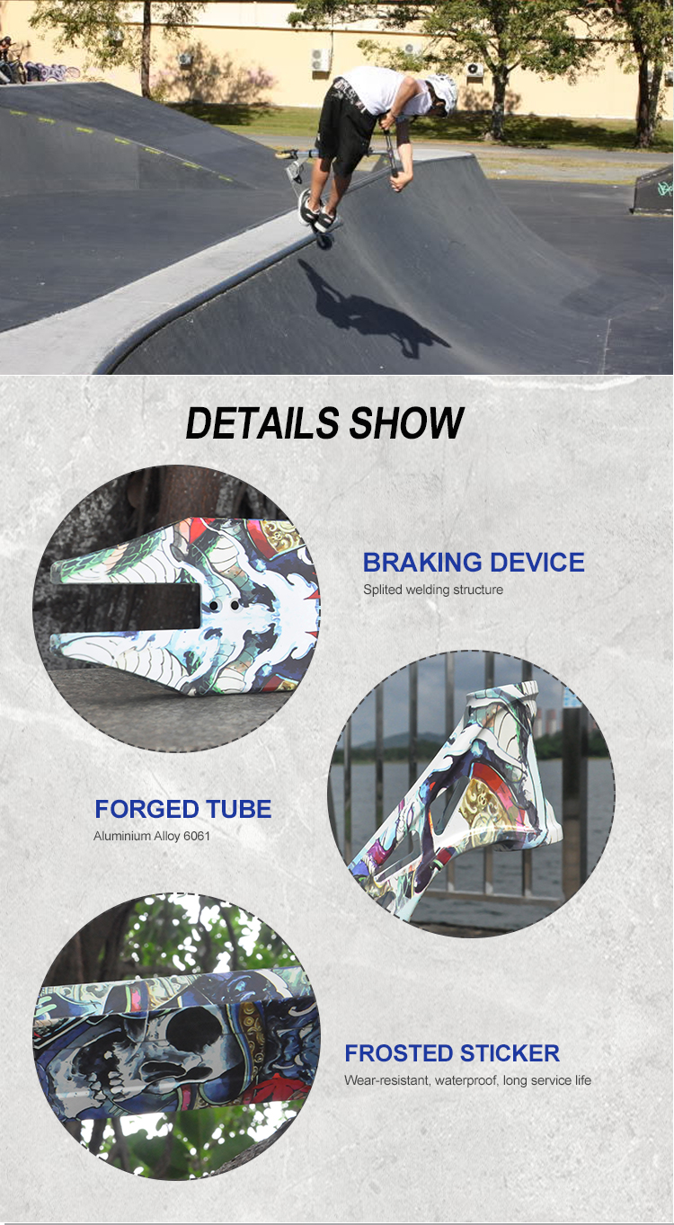 Wholesale china factory professional custom logo low MOQ high quality Alloy 6061 aluminum scooter deck pro stunt