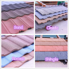 Zinc-aluminum coating and stone chip light weight stone coated metal roofing tile prices