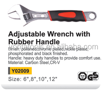 Y02009 Wholesale adjustable spanner with rubber handle