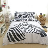 Zebra 3/4pcs comforter bedding set children 100% cotton bed sheets duvet cover bed sheet pillowcase,set full queen size.