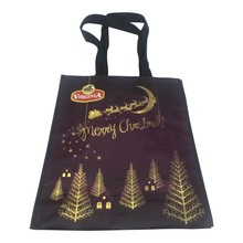 hot sale recycled Christmas gold stamp PP woven shopping bag