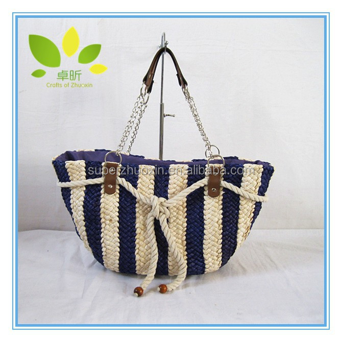 New design promotional fashion tote bag women corn husk handbag beach bag for lady